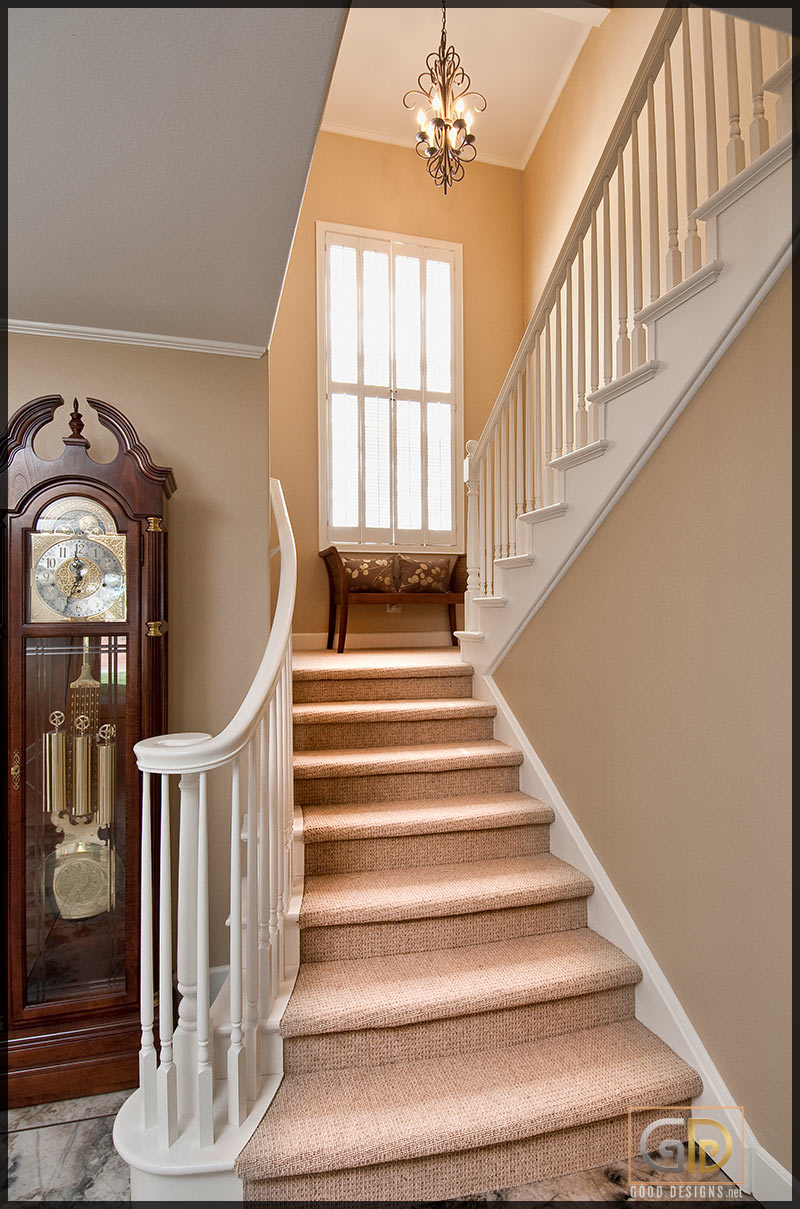 Fully carpeted stairs design