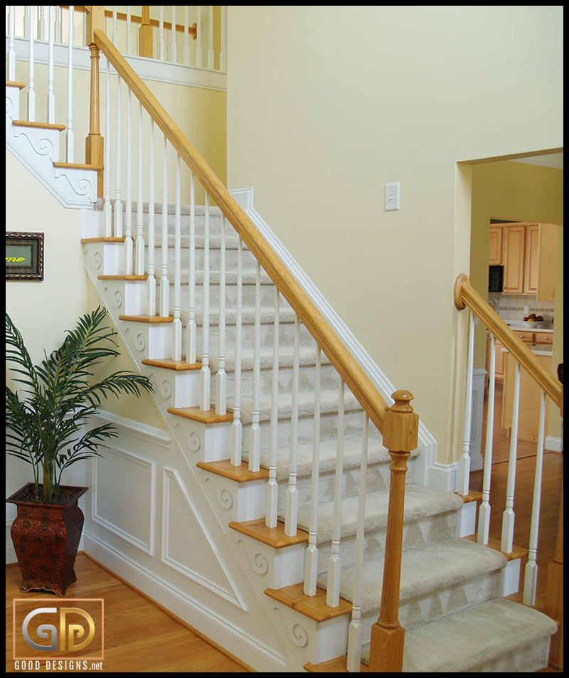 Pattern carpeted stairs