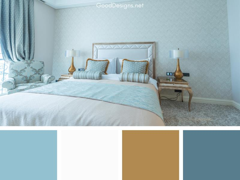Aqua White bedroom color combo