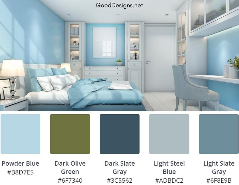 Blue Grey bedroom dual color combination