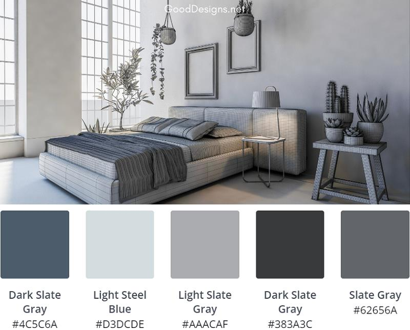 Grey Bedroom Wall blue floor combination
