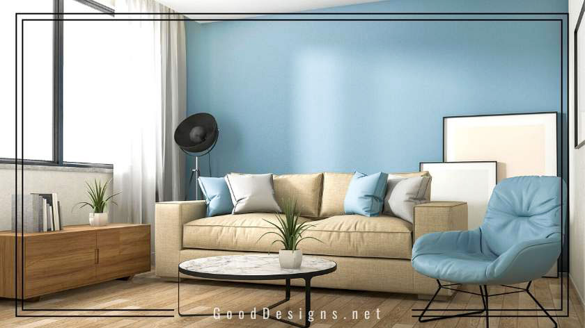 Blue color wall Living room