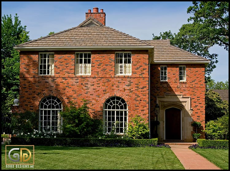 Red brick house with trim